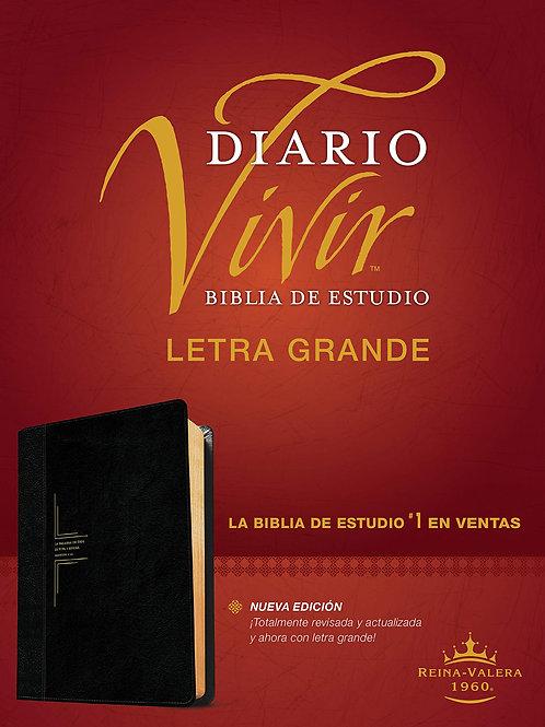 Biblia De Estudio Diario Vivir RVR 1960, Letra Grande, SentiPiel Negro-Ónice