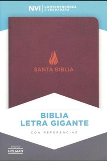 Biblia Letra Gigante NVI, Piel Fabricada Marrón Con Índice