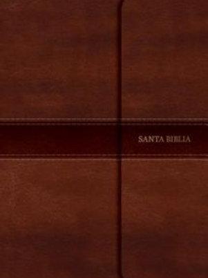 Biblia letra grande tamaño manual, RVR 1960, Símil Piel Marrón con índice