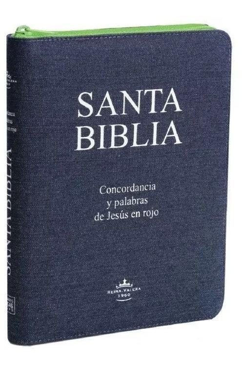 Biblia Jean, letra grande con cierre verde RVR 1960