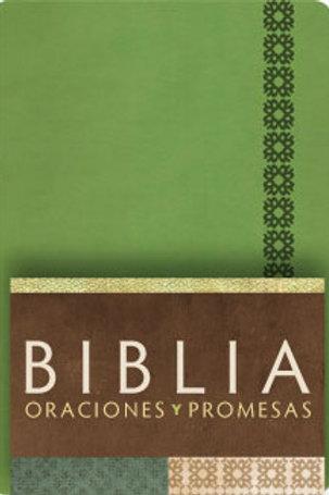 Biblia Oraciones y Promesas RVC, Símil Piel Verde Manzana Con Índice