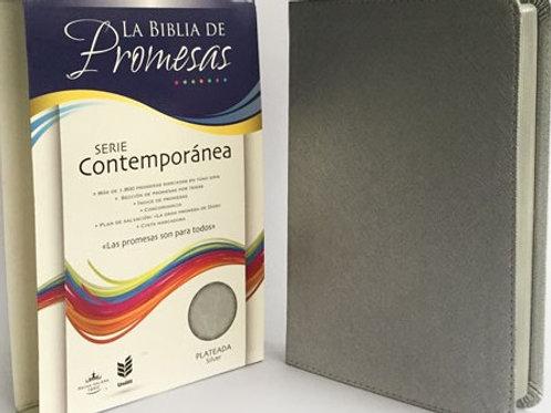 Biblia de promesas piel especial plateado RVR60
