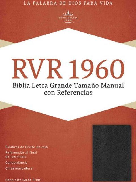 Biblia Letra Grande Tamaño Manual, RVR 1960, Imitación Piel Negro Con Índice