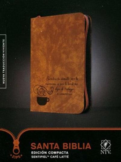 Biblia NTV, Edición Compacta Con Zíper, Sentipiel Café Latte