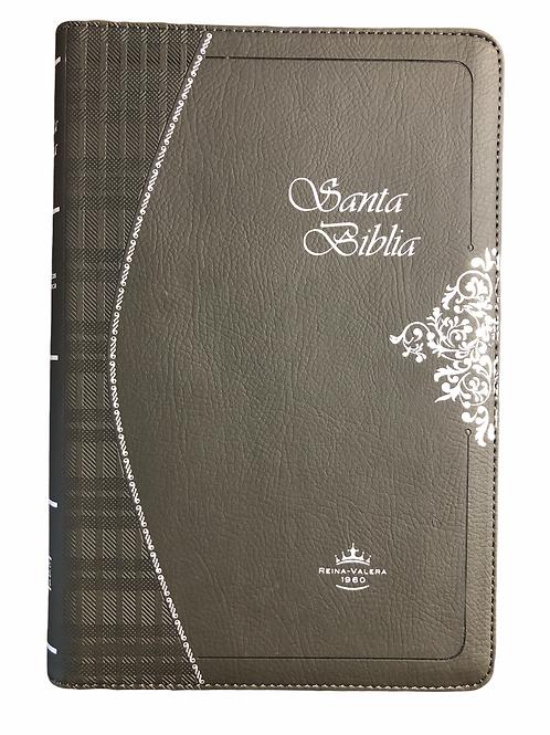 Biblia Ultrafina RVR 1960, Piel Gris Con Zíper e Índice