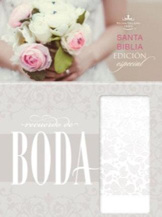 Biblia Recuerdo de Boda RVR 1960, Símil Piel Blanco Floral