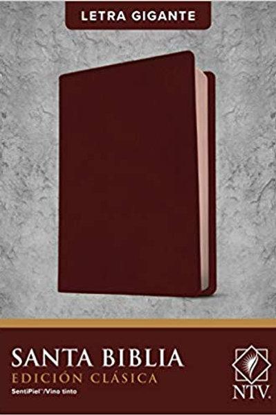 Biblia NTV, Edición Clásica Letra Gigante, SentiPiel Vino Tinto