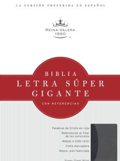 Biblia Letra Súper Gigante RVR 1960, Símil Piel Negro y Gris