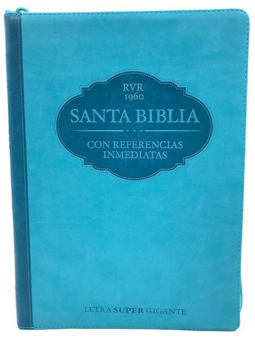Biblia Letra Gigante RVR 1960, Con Referencias Inmediatas, Piel Aqua