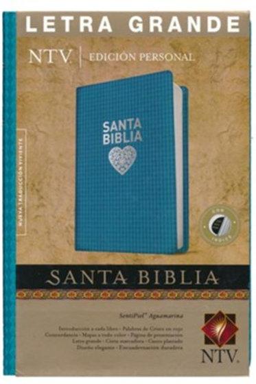 Biblia NTV, Edición Personal, Letra Grande Con Índice, SentiPiel Aguamarina