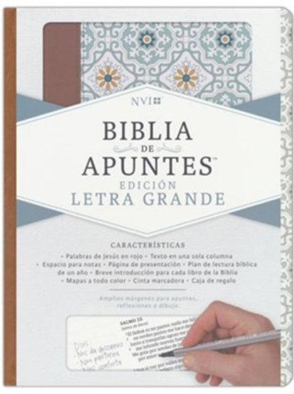 Biblia De Apuntes NVI, Letra Grande, Símil Piel Azulejos Color Salvía