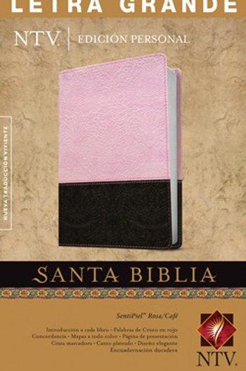 Biblia NTV, Letra Grande, Edición Personal, SentiPiel Rosa-Café