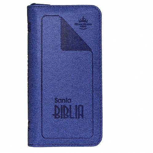 Biblia Tipo Chequera RVR 1960, Imitación Piel Azul Con Índice y Zíper