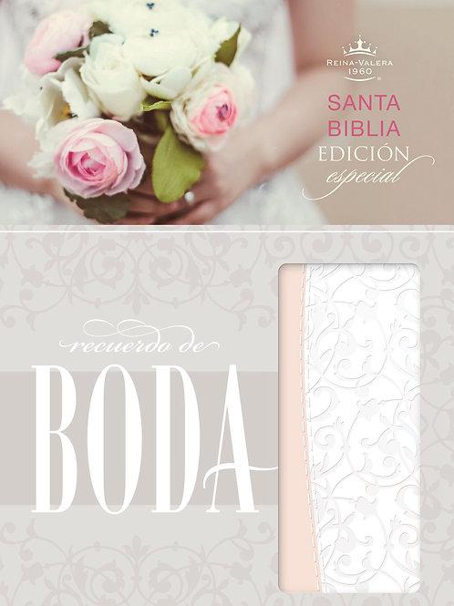 Biblia Recuerdo de Boda RVR 1960, Símil Piel Filigrana Blanco/Rosa
