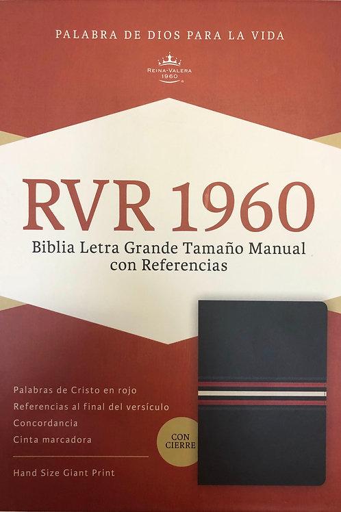 Biblia Letra Grande Tamaño Manual RVR 1960, Piel Fabricada Azul Con Índice