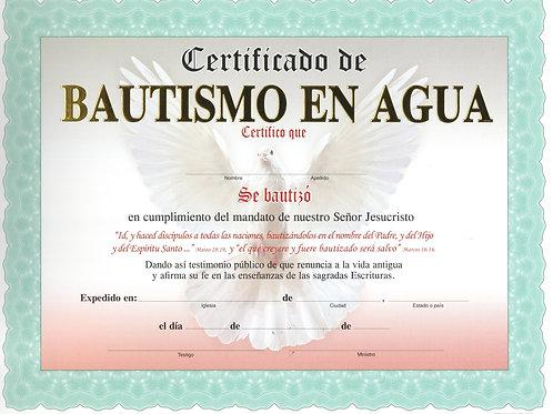 """Certificado de """"Bautismo En Agua""""- Atardecer"""