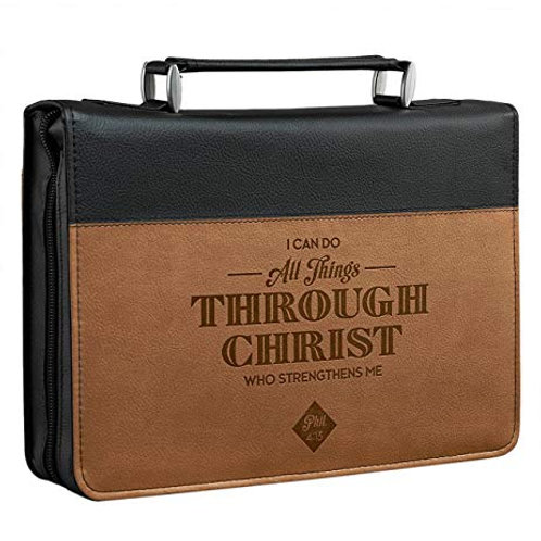 All things through Christ, two tone Bible cover medium