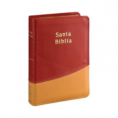 Biblia Compacta RVR 1960, Piel Rojo / Crema Con Índice