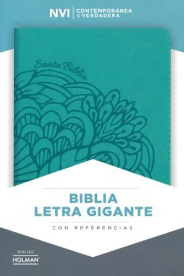 Biblia Letra Gigante NVI, Símil Piel Aqua Con Índice