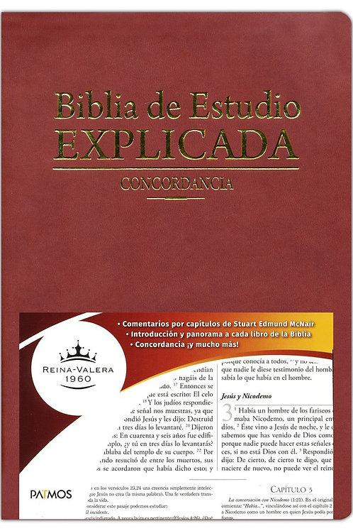 Biblia De Estudio Explicada RVR 1960, Imitación Piel Vino Con Índice