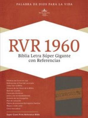 Biblia Letra Súper Gigante, gris/marrón símil piel con índice RVR 1960