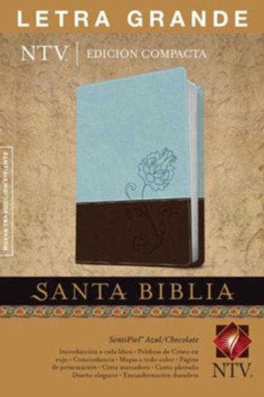 Biblia NTV, Edición Compacta, Imitación Piel Azul-Chocolate