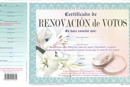 Certificado de renovación de votos