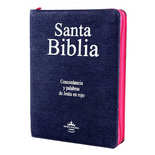 Biblia Letra Grande, RVR 1960, Blue Jean Zíper Rosa