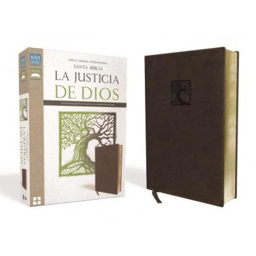 Biblia La Justicia De Dios NVI, Piel Italiana Marrón