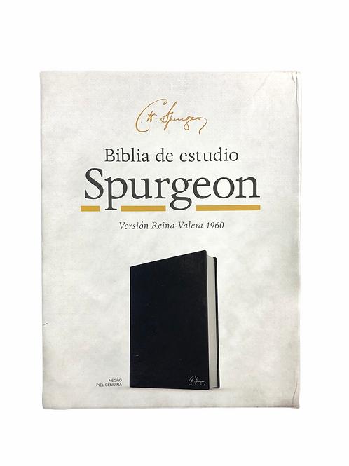 Biblia De Estudio Spurgeon RVR 1960, Piel Genuina Negro