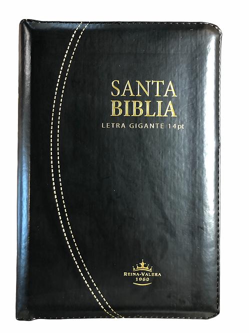 Biblia Letra Gigante Tamaño Manual RVR 1960, Imitación Piel Negro, Índice, Zíper