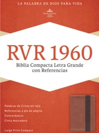 Biblia compacta con referencias, símil piel cobre/marrón RVR 1960