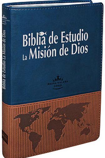 Biblia de estudio la Misión de Dios, piel dos tonos RVR 1960