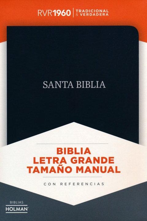 Biblia Letra Grande Tamaño Manual, RVR 1960, Piel Fabricada Negro