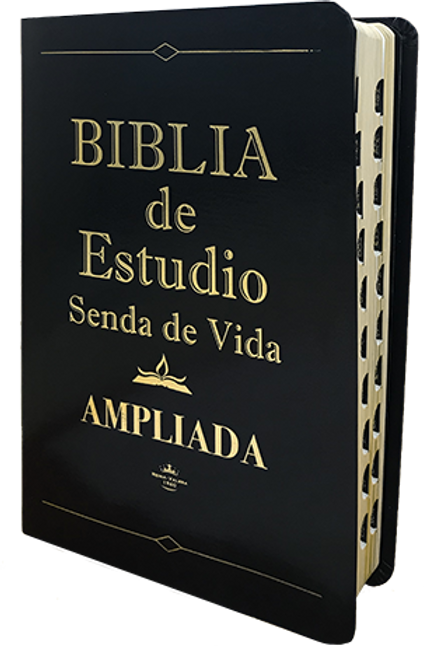 Biblia de estudio Ampliada piel negro con índice RVR 1960