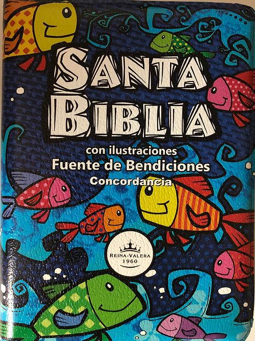 Biblia Fuente De Bendiciones Para Niños RVR 1960, Con Ilustraciones