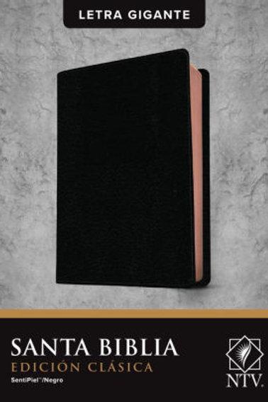 Biblia NTV, Edición Clásica Letra Gigante, SentiPiel Negro Con Índice