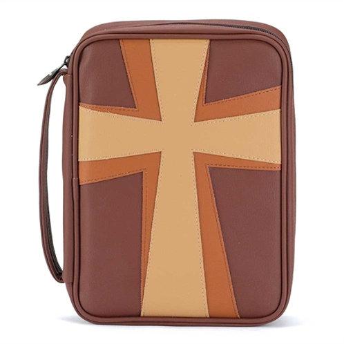 Bible Cover LG multi brown Cross