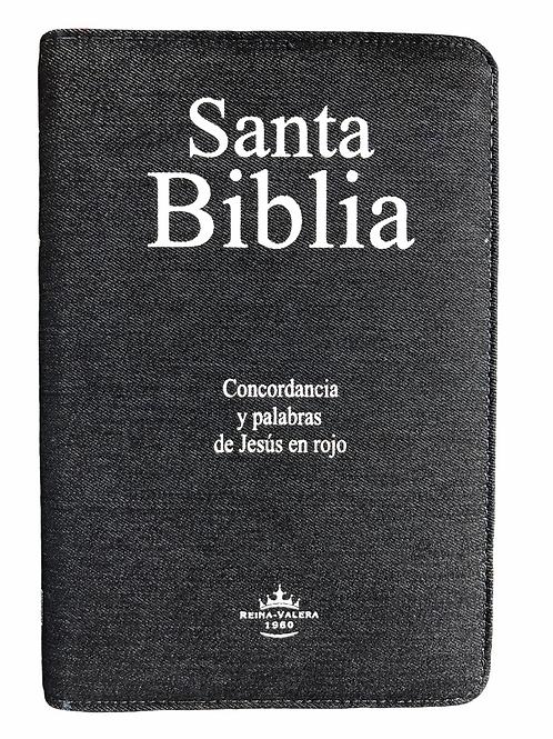 Biblia Letra Grande Tamaño Manual RVR 1960, Blue Jean Con Índice
