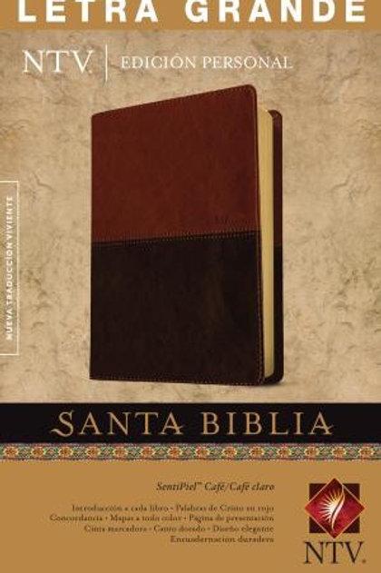 Biblia NTV, Letra Grande, Edición Personal, Símil Piel Café - Café Claro