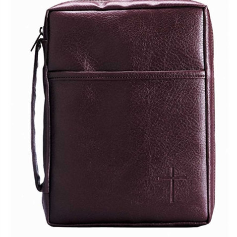 Bible cover medium with handle pocket burgundy