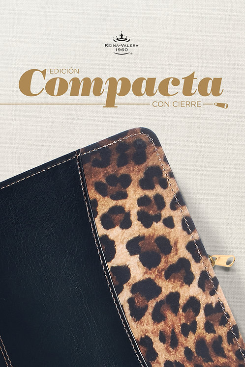 Biblia edición compacta RVR 1960, Símil Piel Negro/Leopardo con zíper
