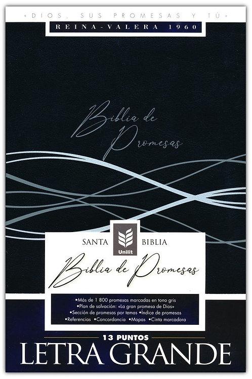 Biblia De Promesas Letra Grande RVR 1960, Piel Negro Moderno Con Índice