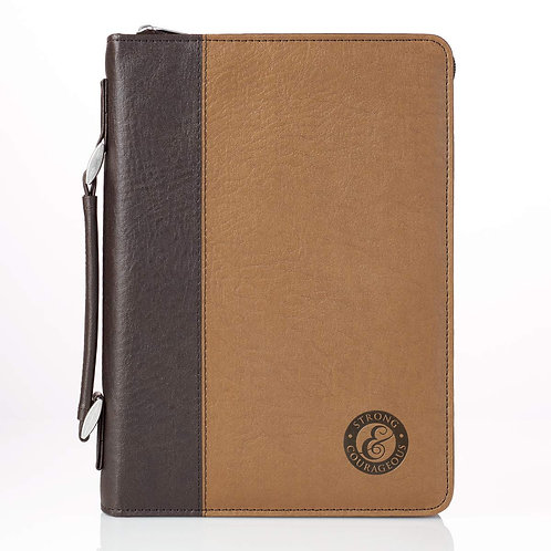 Bible Cover, Strong and Courageous, Two-Tone Brown, Medium