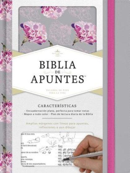 Biblia De Apuntes RVR 1960, Tela Impresa Gris y Floreado
