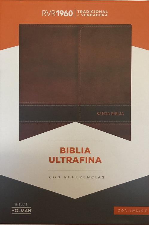 Biblia ultrafina con referencias Símil Piel marrón con índice RVR 1960
