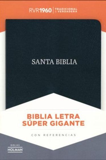 Biblia letra súper gigante RVR 1960, Piel Fabricada Negro con índice