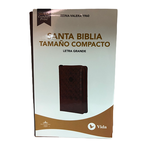 Biblia Letra Grande Tamaño Compacto RVR 1960, Imitación Piel Marrón Con Índice