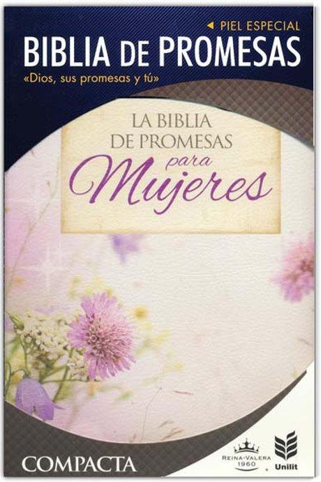 Biblia De Promesas Compacta RVR 1960, Piel Floral Con Índice y Zíper