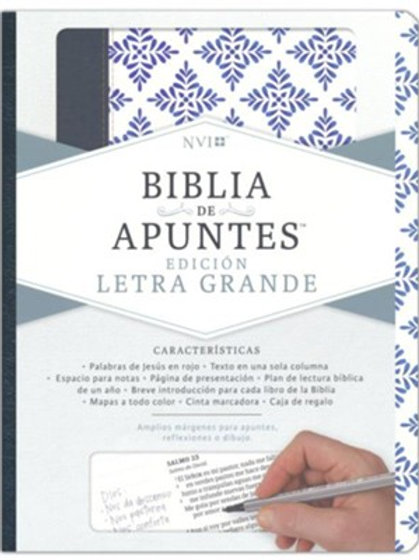 Biblia de Apuntes NVI, Letra Grande, Símil Piel Blanco/Azul